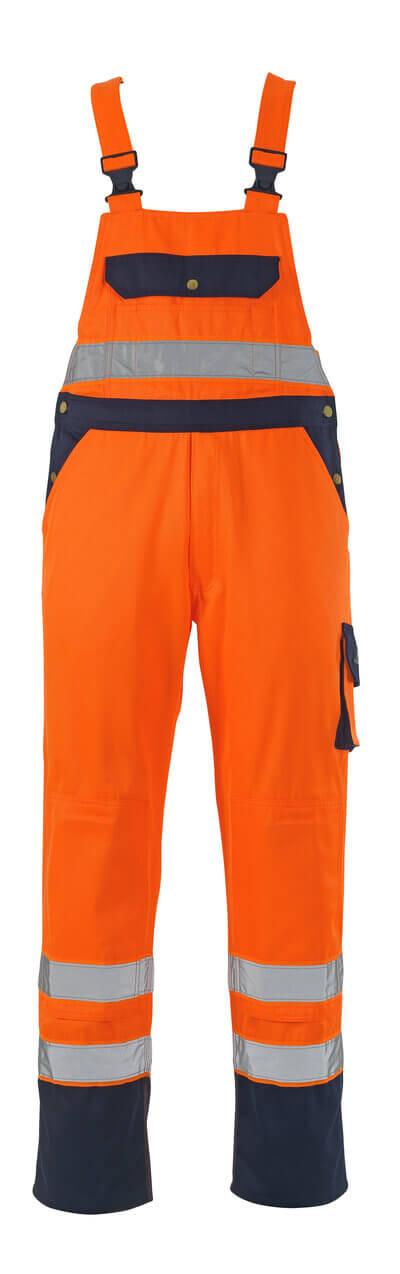 00969-860-141 Bib & Brace with kneepad pockets - hi-vis orange/navy