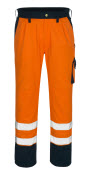 00979-860-141 Pants with kneepad pockets - hi-vis orange/navy