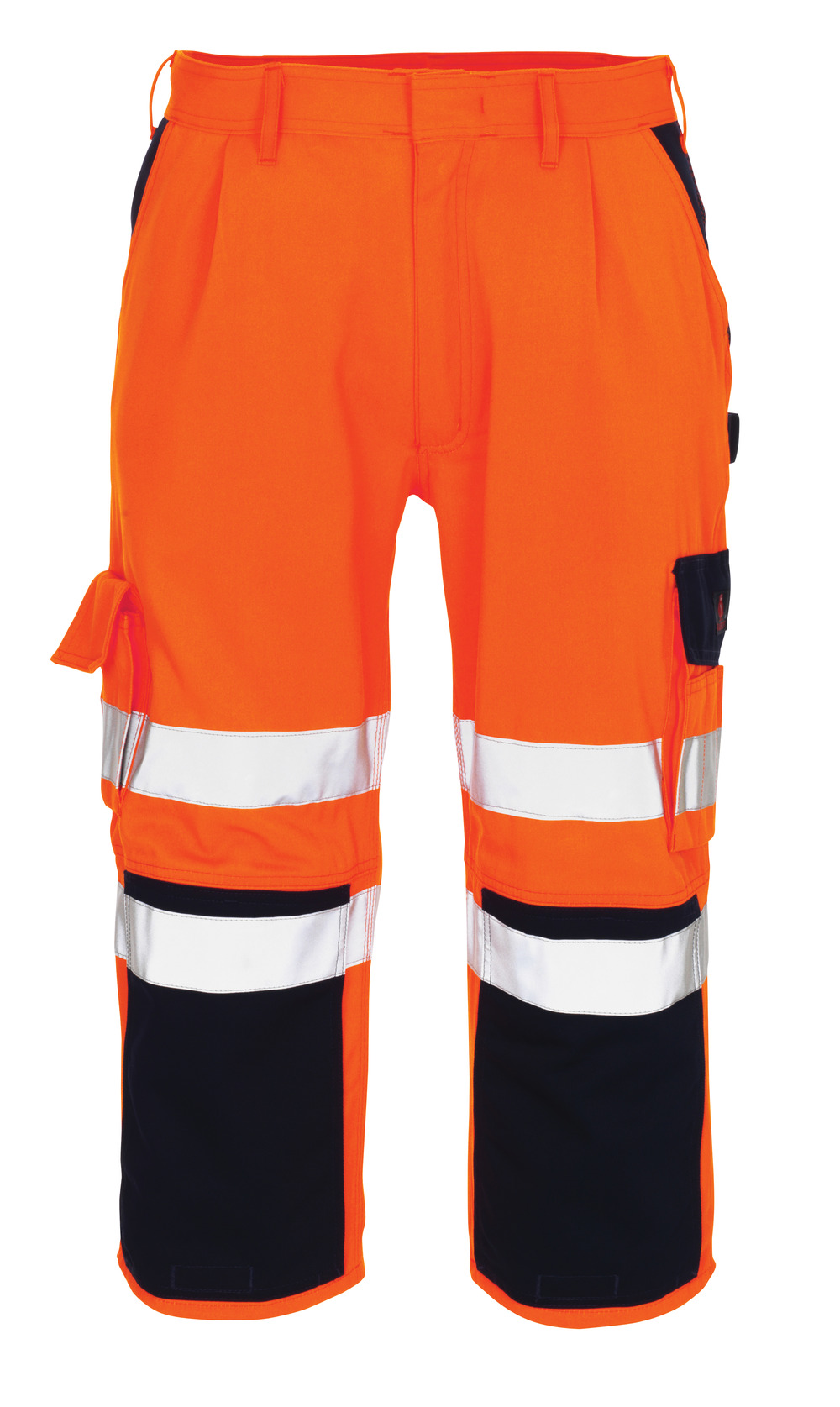 07149-860-141 ¾ Length Trousers with kneepad pockets - hi-vis orange/navy