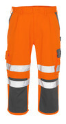 07149-860-14888 ¾ Length Trousers with kneepad pockets - hi-vis orange/anthracite