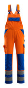 07169-860-1411 Bib & Brace with kneepad pockets - hi-vis orange/royal