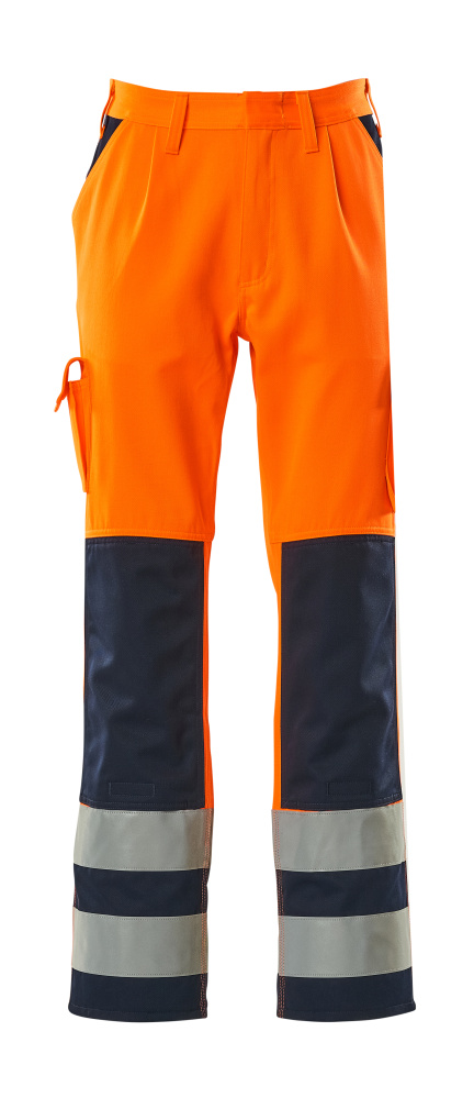07179-860-141 Pants with kneepad pockets - hi-vis orange/navy