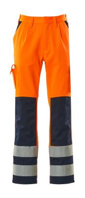 07179-860-141 Pants with kneepad pockets - hi-vis orange/navy