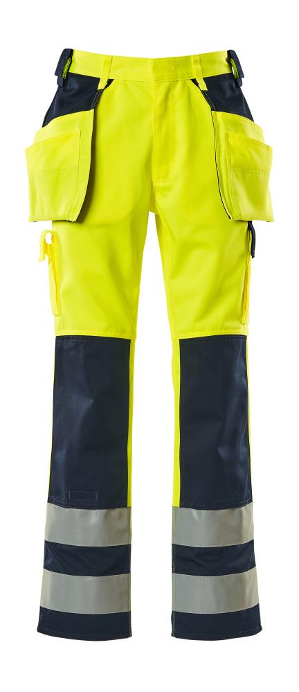 09131-470-171 Pants with kneepad pockets and holster pockets - hi-vis yellow/navy