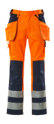 09131-860-141 Pants with kneepad pockets and holster pockets - hi-vis orange/navy