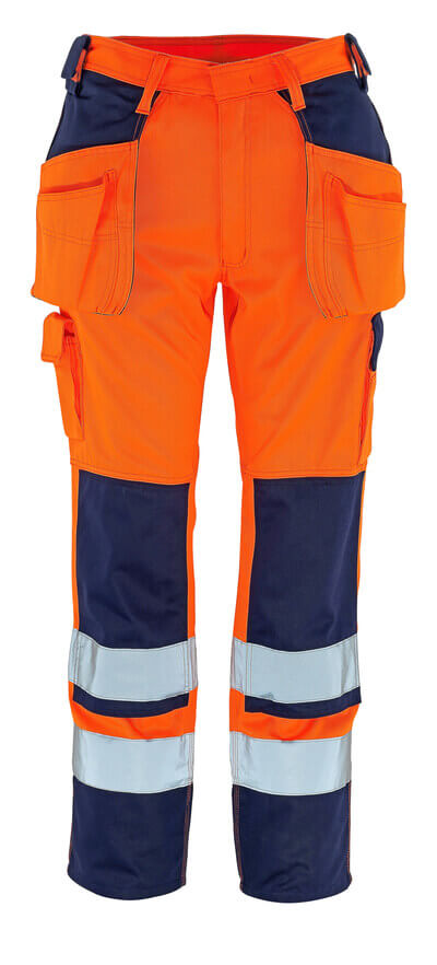 09131-860-141 Trousers with kneepad pockets and holster pockets - hi-vis orange/navy