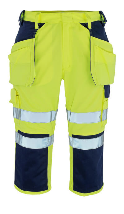 09149-470-171 ¾ Length Pants with kneepad pockets and holster pockets - hi-vis yellow/navy