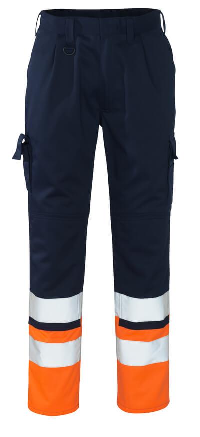 12379-430-0114 Pants with kneepad pockets - navy/hi-vis orange