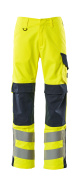 13879-216-17010 Pants with kneepad pockets - hi-vis yellow/dark navy