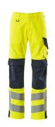 13879-216-17010 Trousers with kneepad pockets - hi-vis yellow/dark navy