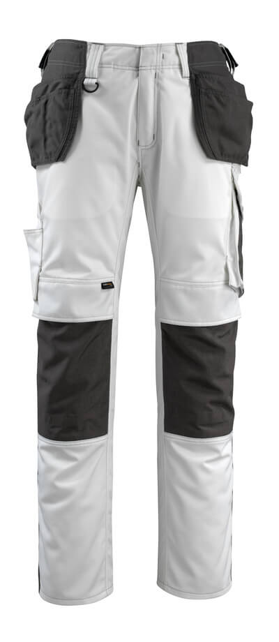 14031-203-0618 Pants with kneepad pockets and holster pockets - white/dark anthracite