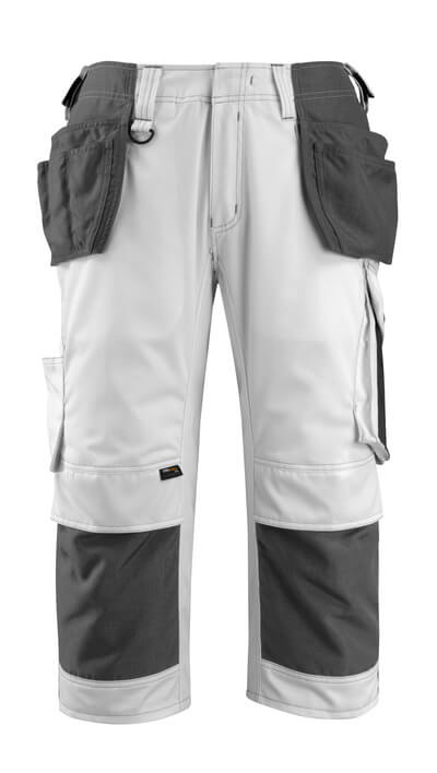 14349-442-0618 ¾ Length Trousers with kneepad pockets and holster pockets - white/dark anthracite