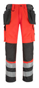 14931-860-A49 Pants with kneepad pockets and holster pockets - hi-vis red/dark anthracite