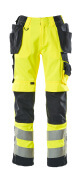 15531-860-17010 Trousers with kneepad pockets and holster pockets - hi-vis yellow/dark navy