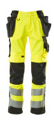15531-860-1709 Trousers with kneepad pockets and holster pockets - hi-vis yellow/black
