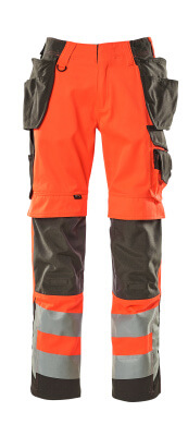 15531-860-14010 Pants with kneepad pockets and holster pockets - hi-vis orange/dark navy