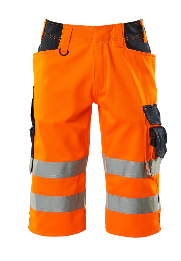 15549-860-14010 ¾ Length Trousers - hi-vis orange/dark navy