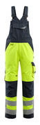 15569-860-17010 Bib & Brace with kneepad pockets - hi-vis yellow/dark navy