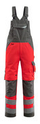 15569-860-22218 Bib & Brace with kneepad pockets - hi-vis red/dark anthracite