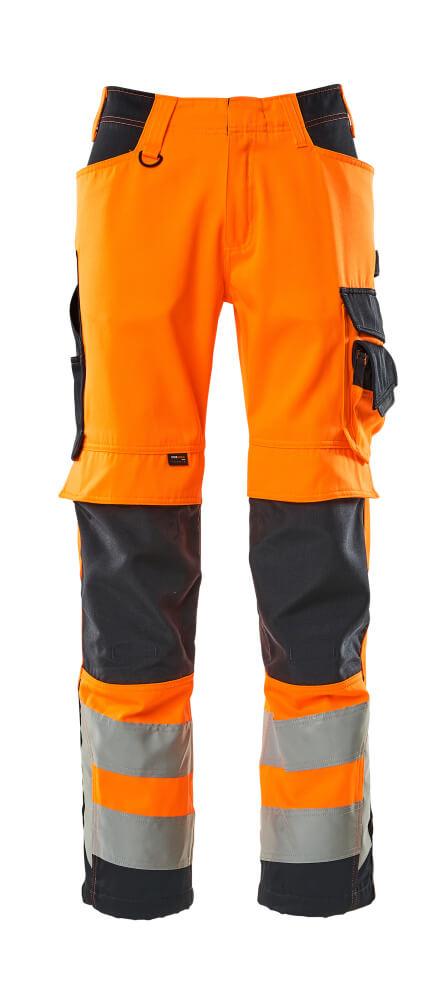 15579-860-14010 Pants with kneepad pockets - hi-vis orange/dark navy