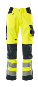15579-860-14010 Pants with kneepad pockets - hi-vis orange/dark navy