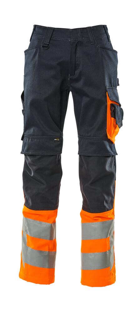 15679-860-01014 Pants with kneepad pockets - dark navy/hi-vis orange