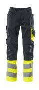 15679-860-01017 Trousers with kneepad pockets - dark navy/hi-vis yellow
