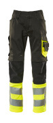 15679-860-0917 Trousers with kneepad pockets - black/high-visibility hi-vis yellow