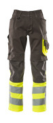 15679-860-1817 Trousers with kneepad pockets - dark anthracite/hi-vis yellow