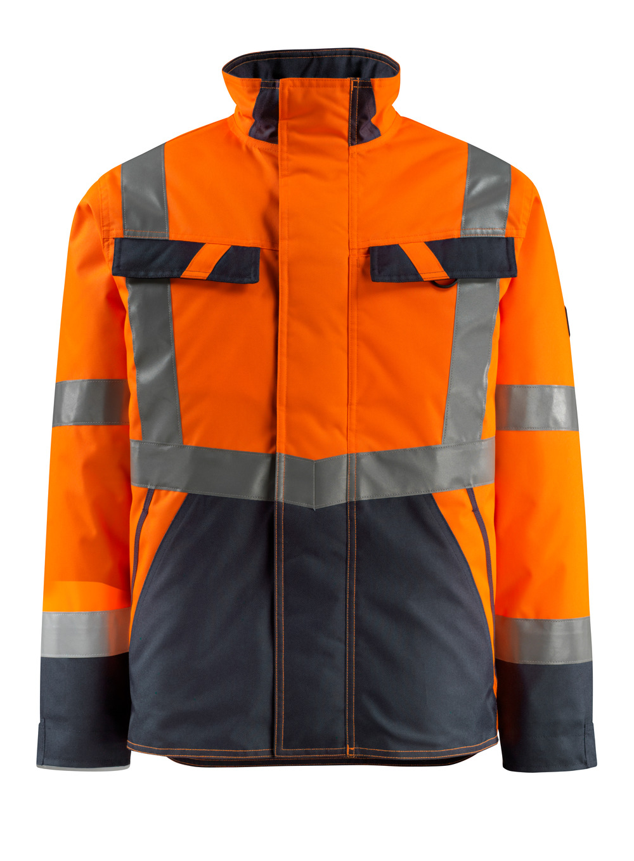 15935-126-14010 Winter Jacket - hi-vis orange/dark navy