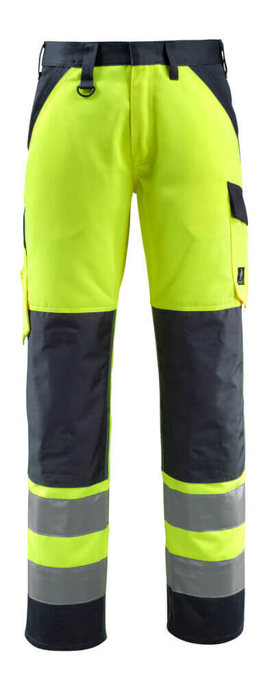 15979-948-17010 Pants with kneepad pockets - hi-vis yellow/dark navy