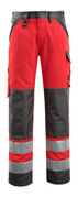 15979-948-22218 Trousers with kneepad pockets - hi-vis red/dark anthracite