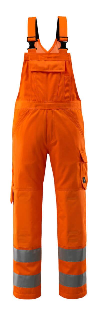 16869-860-14 Bib & Brace with kneepad pockets - hi-vis orange