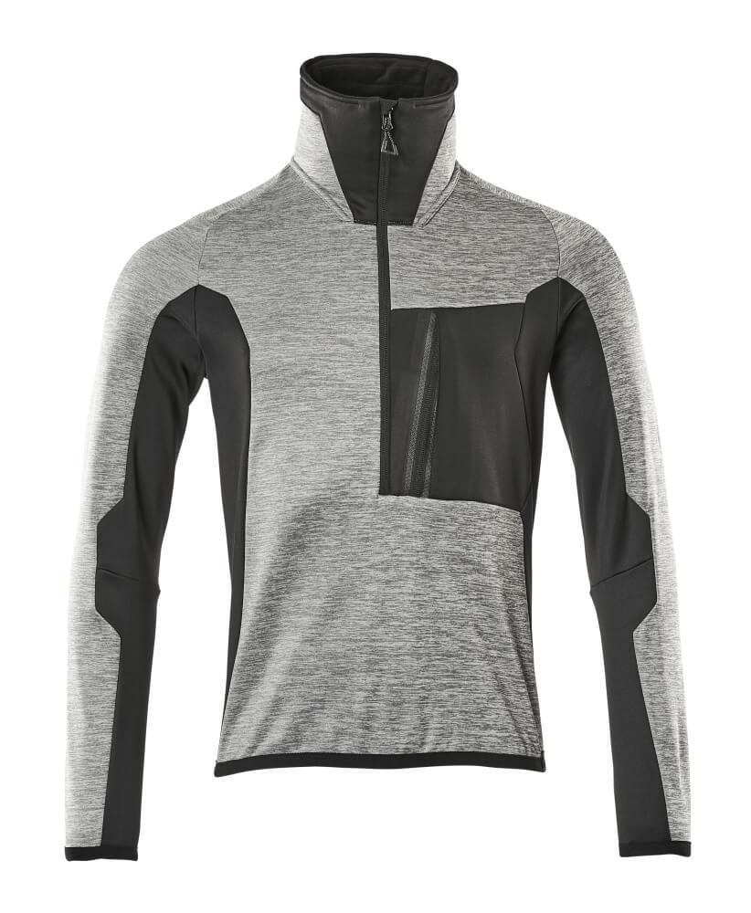 17003-316-0809 Fleece Jumper with half zip - grey-flecked/black
