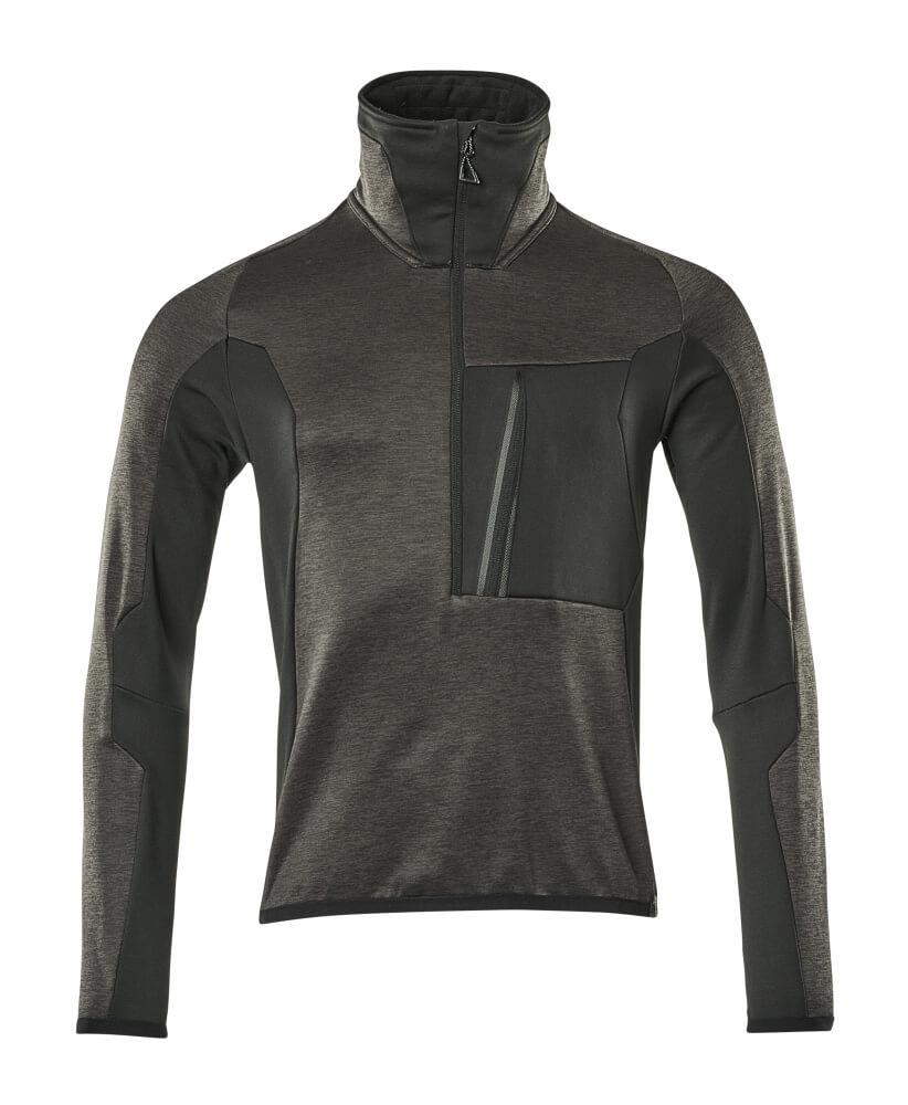 17003-316-1809 Fleece Jumper with half zip - dark anthracite/black