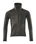 17003-316-1809 Fleece Jumper with half zip - dark anthracite/black