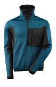 17003-316-4409 Fleece Jumper with half zip - dark petroleum/black