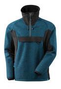 17005-309-4409 Knitted Jacket with half zip - dark petroleum/black