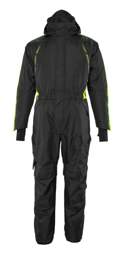 17019-231-0917 Winter Boilersuit with kneepad pockets - black/high-visibility hi-vis yellow