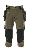 17049-311-33 ¾ Length Trousers with kneepad pockets and holster pockets - moss green