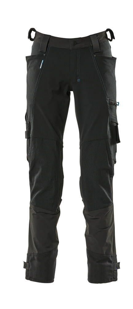 17079-311-09 Pants with kneepad pockets - black