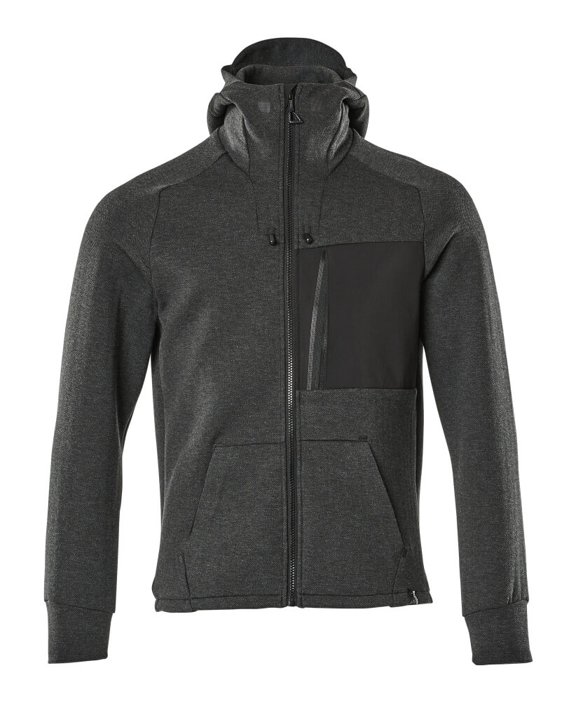 17384-319-09 Hoodie with zipper - black