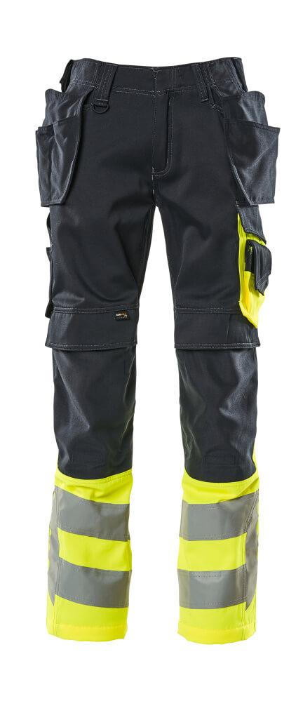 17531-860-01017 Pants with holster pockets - dark navy/hi-vis yellow