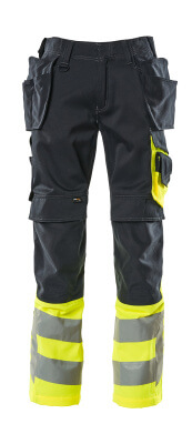 17531-860-01017 Pants with kneepad pockets and holster pockets - dark navy/hi-vis yellow