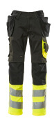 17531-860-0917 Pants with kneepad pockets and holster pockets - black/high-visibility hi-vis yellow