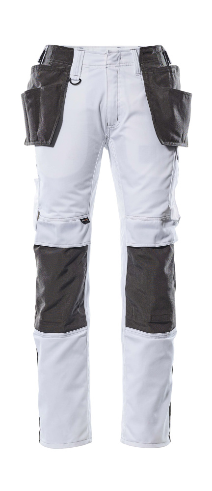 17631-442-0618 Trousers with kneepad pockets and holster pockets - white/dark anthracite