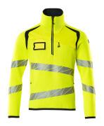 19005-351-17010 Knitted Jumper with half zip - hi-vis yellow/dark navy