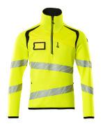 19005-351-1709 Knitted Jumper with half zip - hi-vis yellow/black