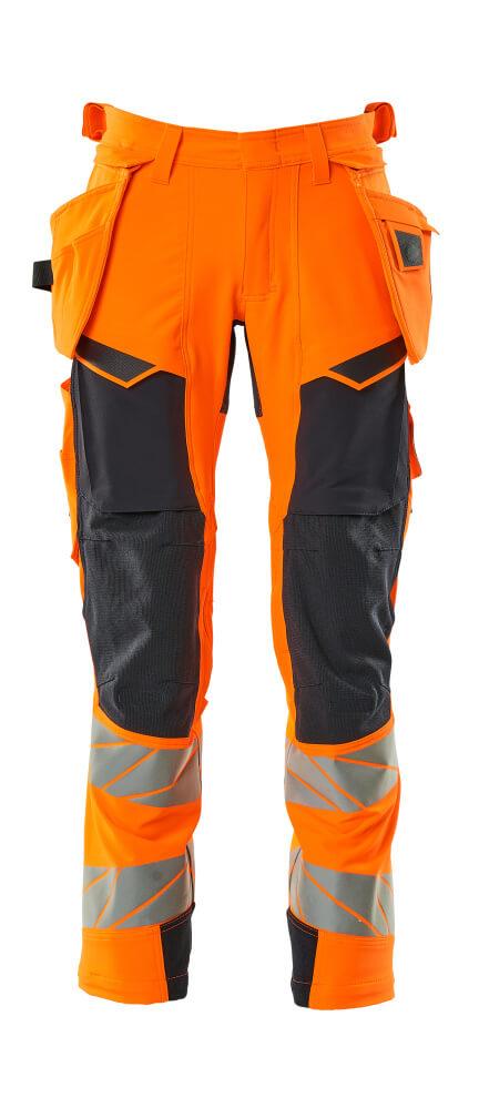 19031-711-14010 Pants with holster pockets - hi-vis orange/dark navy