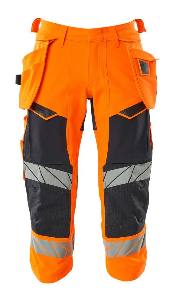 19049-711-14010 ¾ Length Pants with holster pockets - hi-vis orange/dark navy